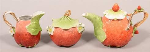 Unmarked German Porcelain Three Piece Strawberry Form