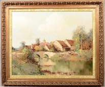 Willi Bauer Village Oil on Canvas 20th century