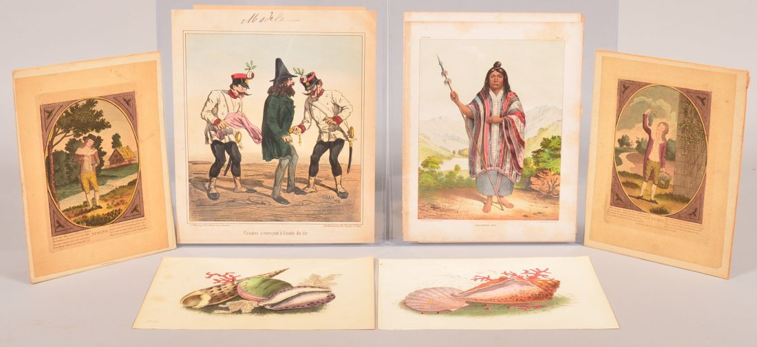 Lot of 13 various 19th Century Colored Lithographs.