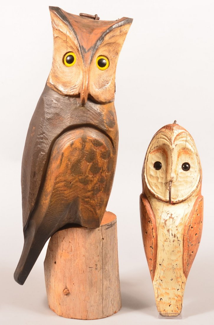 Two Wooden  Barn Owl Decoys. Carved and painted, owl on