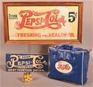 Lot of PepsiCola Advertising Including framed tin