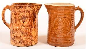 Two 19th Century Pottery Water Pitchers. 1st: