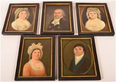 Set of Five Early 19th Century Folk Art Oil on Canvas