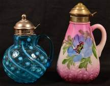 Two Victorian Period Tin Mounted Syrup Jugs with