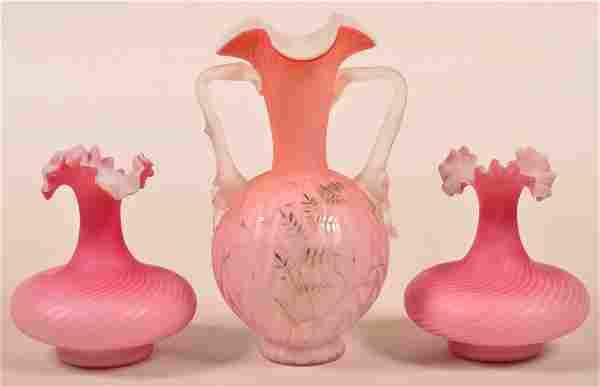 Three Cranberry Overlay Art Glass Vases. Zig Zag