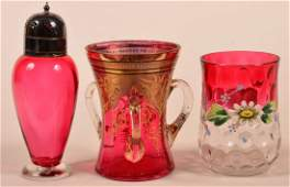 Three Pieces of Cranberry Victorian Art Glass