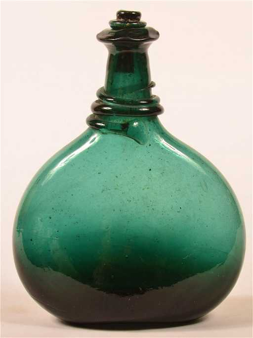 18th Century Blown Emerald Green Glass Saddle Flask. Qing Dynasty Art