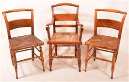 Assembled Set of Three Federal Period Chairs. 1st: