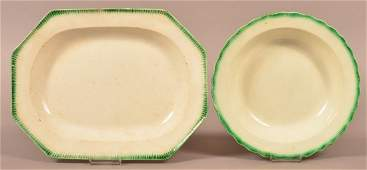 Leeds Soft Paste Platter and Soup Plate.