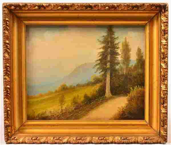 Unsigned Oil on Board Mountain Path Painting.