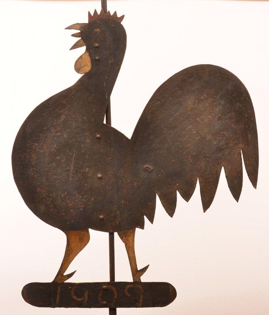 1909 Folk Art Sheet Iron Rooster Weathervane.