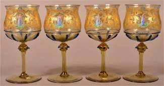 4 Moser Glass Gilt and Enamel Decorated Wines