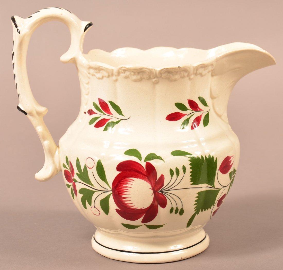 Early Adams Rose Pattern Milk Pitcher.