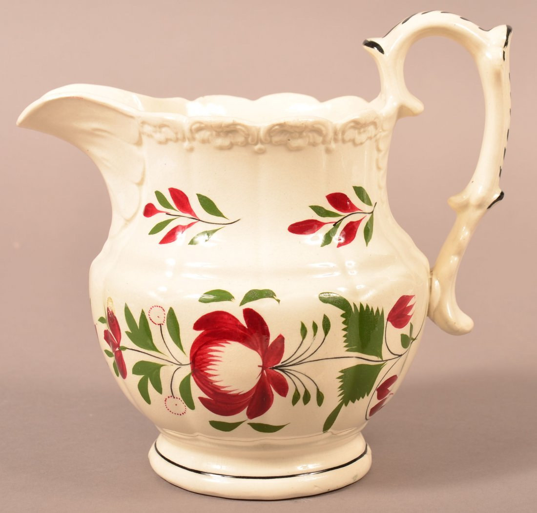 Early Adams Rose Pattern Milk Pitcher. - 2
