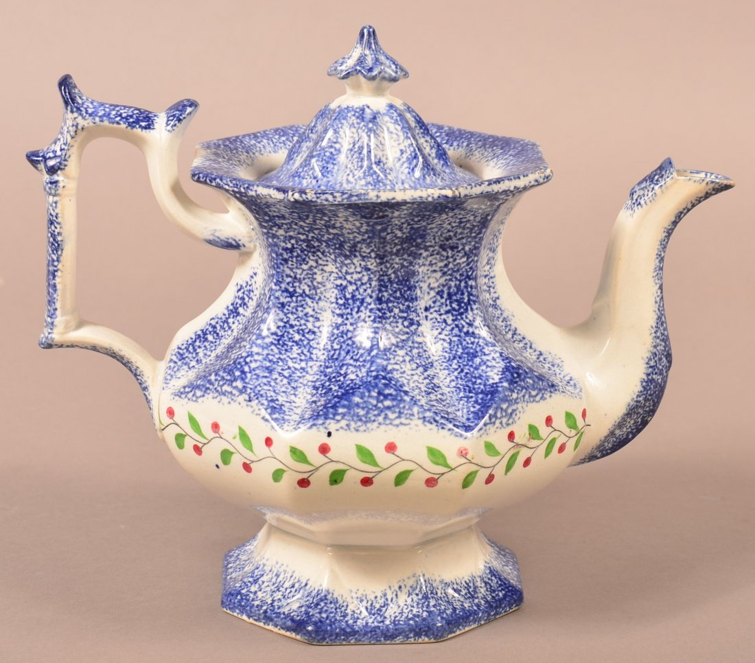 Blue Spatter Holly Berry Coffee Pot.