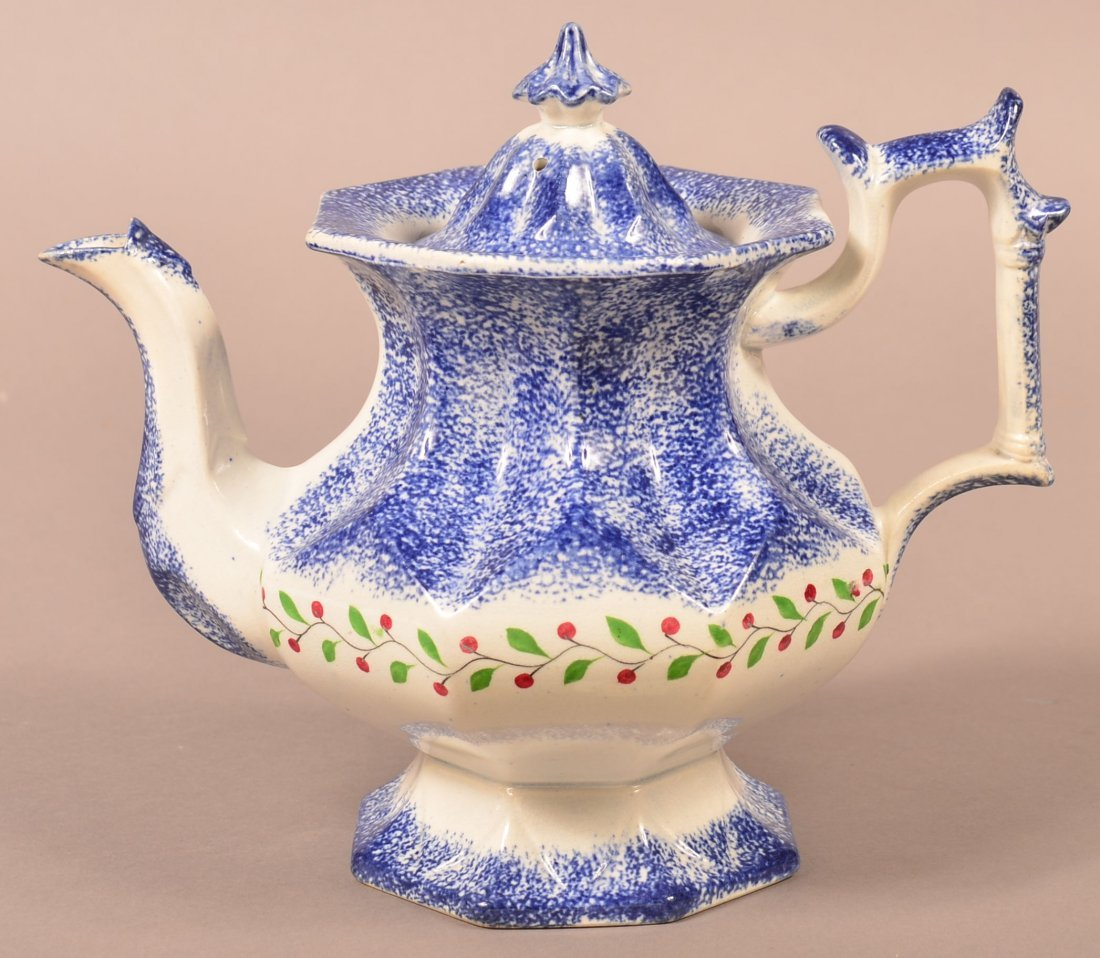 Blue Spatter Holly Berry Coffee Pot. - 2