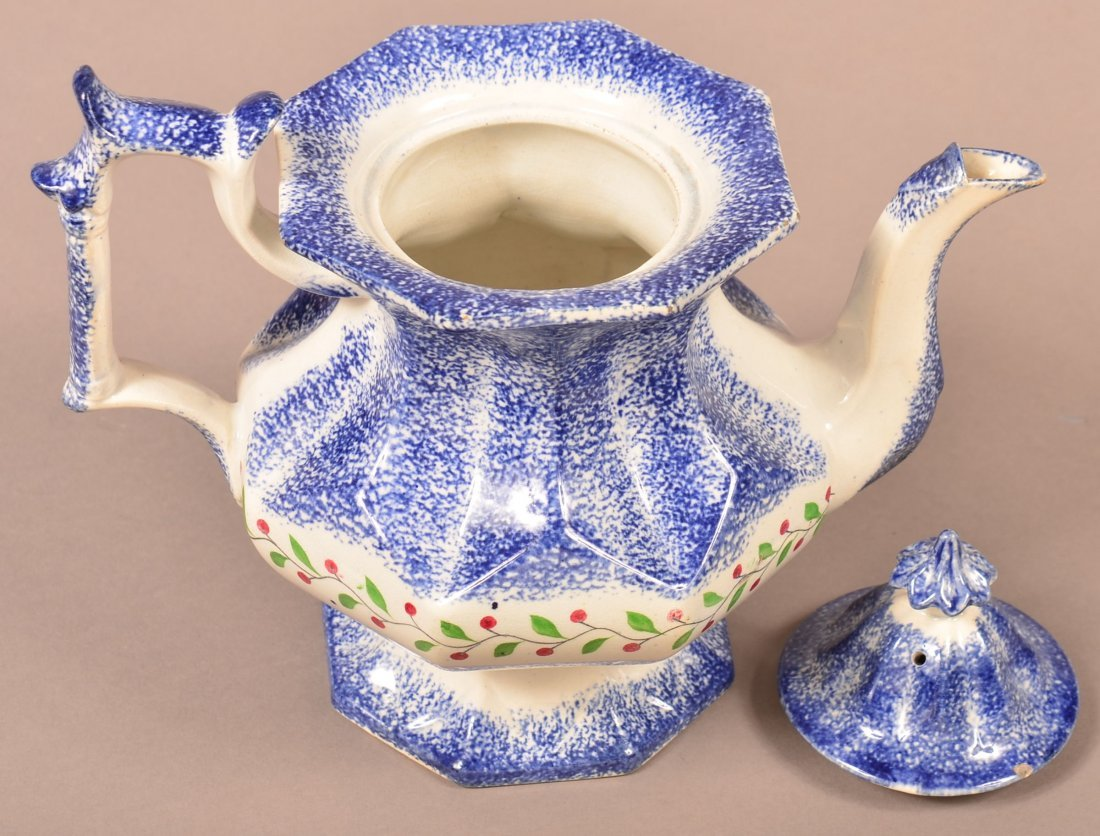 Blue Spatter Holly Berry Coffee Pot. - 3