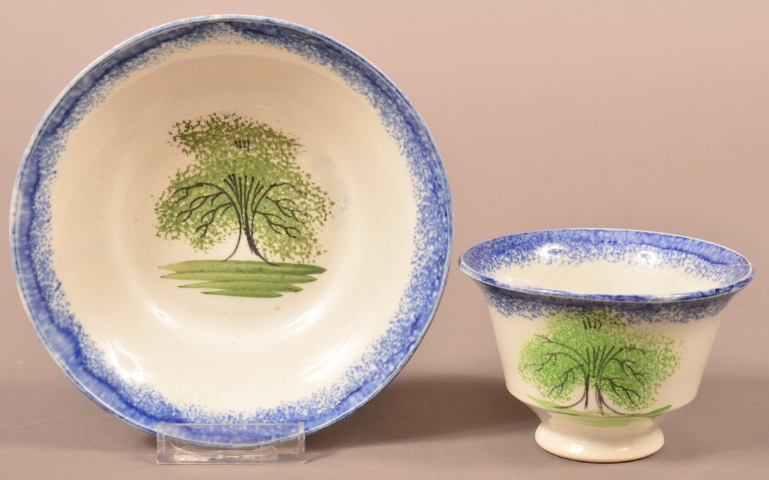 Blue Spatter Tree China Cup and Saucer.