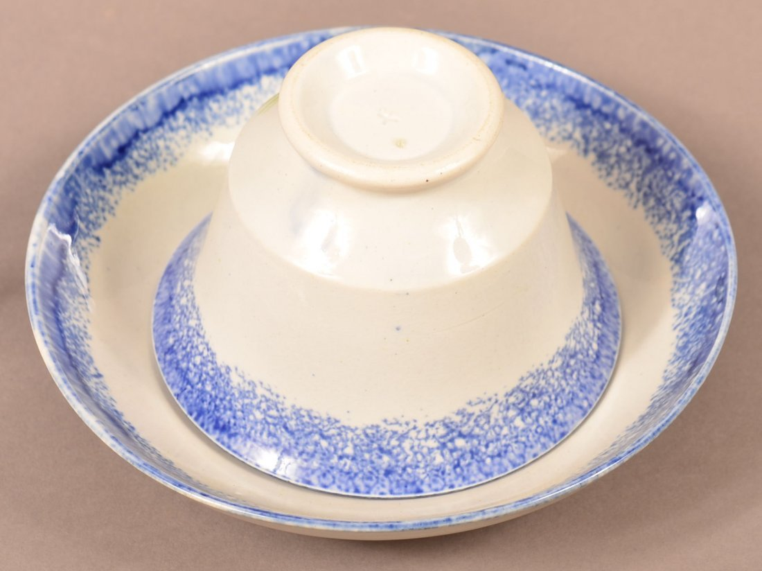 Blue Spatter Tree China Cup and Saucer. - 2