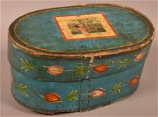 Paint Decorated Oval Bentwood Bride's Box.