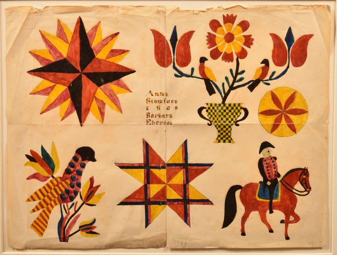Fraktur Sampler Signed Barbara Ebersol, 1864.