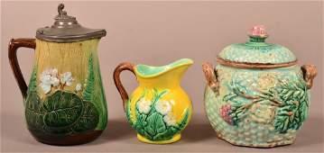 Three Pieces of Majolica Pottery.