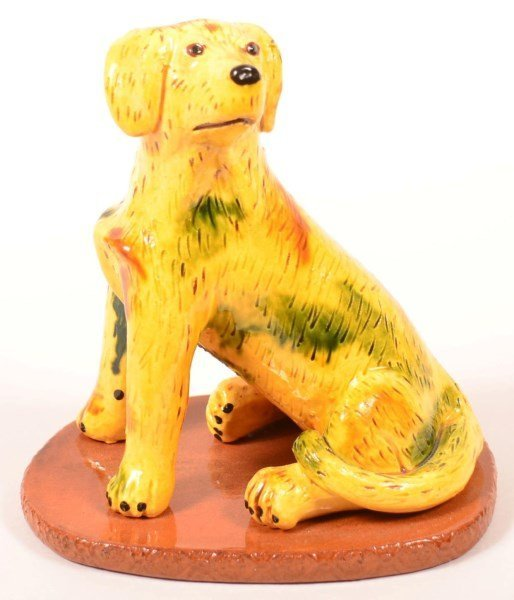 Breininger Redware Pottery Seated Dog Figure.