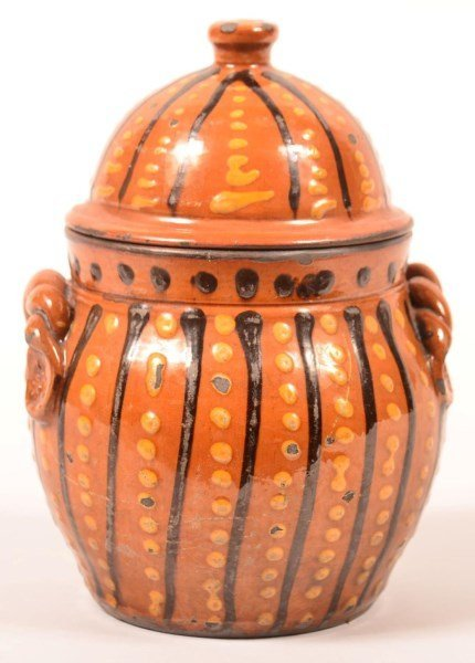 Shooner Redware Slip Decorated Sugar Bowl.