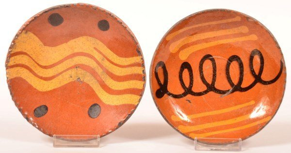 Two Shooner Redware Pottery Small Plates.