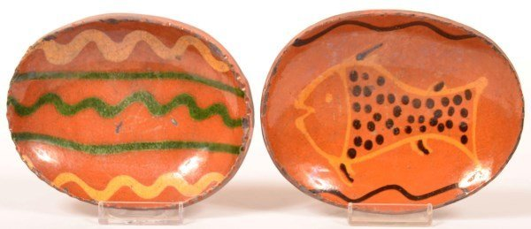 Two Shooner Redware Pottery Soap Dishes.