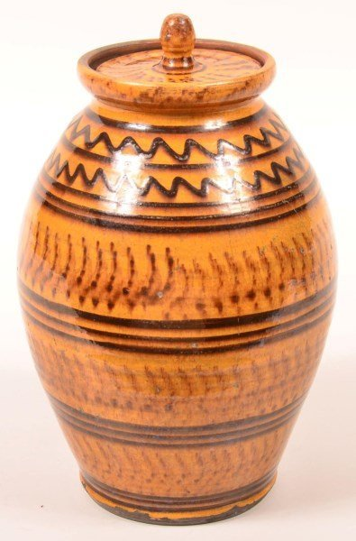 Shooner Redware Slip Decorated Covered Jar.