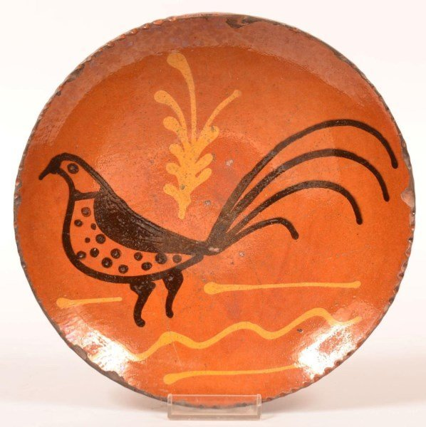 Shooner Redware Bird Slip Decorated Plate.