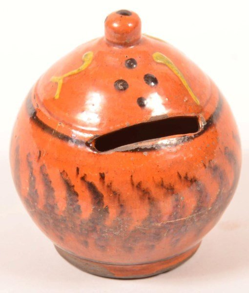 Shooner Redware Pottery Ovoid Form Still Bank.