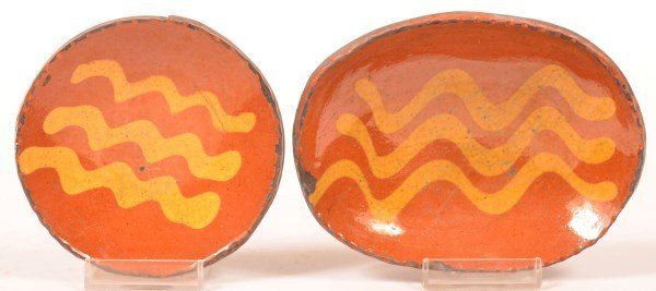 Two Shooner Redware Pottery Dishes.