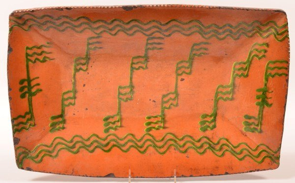 Shooner Redware Large Rectangular Platter.