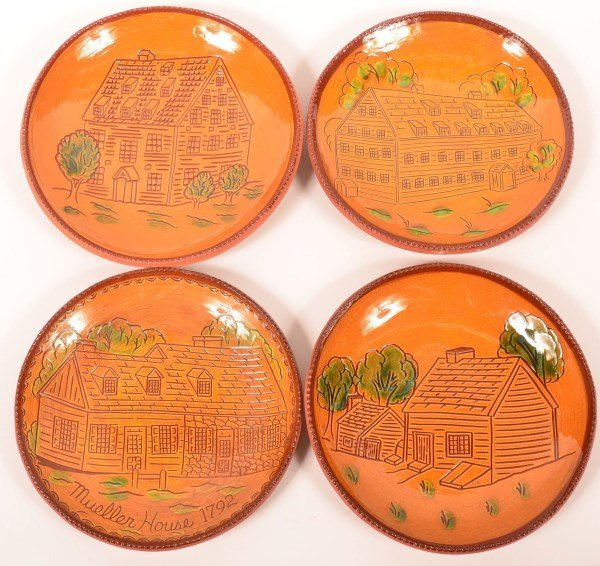 Four Foltz Redware Limited Edition Plates.