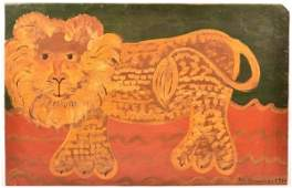 Contemporary Folk Art Painting of a Lion.