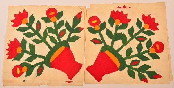Five Basket of Flowers Applique Quilt Patches.