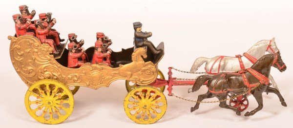 Rare Ives Cast Iron Open Band Wagon Pull Toy.