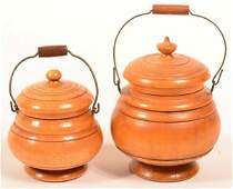Two 19th Century Peasware Covered Canisters.