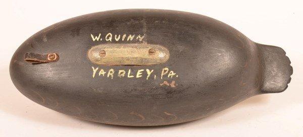 Sleeper Duck Decoy Signed W. Quinn, Yardley PA - 3
