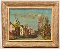 Walter E. Baum Oil on Board Titled Twin Gables.