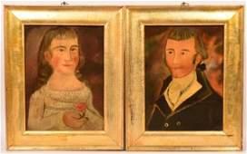 Pair of Folk Art Oil on Canvas Portrait Paintings.