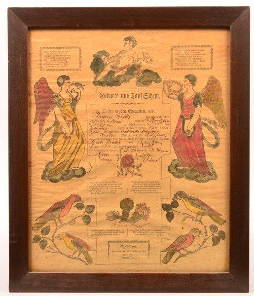 Johann Ritter Birth and Baptismal Certificate.