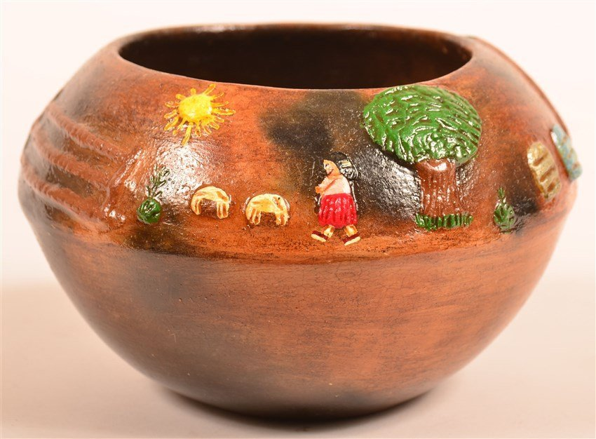 Navajo Pottery Pictorial Bowl by EMM.