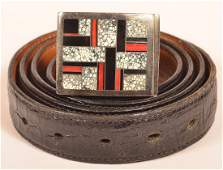 Navajo Sterling Silver In Laid Buckle