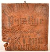 Chas. A. Grove Crate End Panel, Lancaster, PA