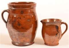 Two Pieces of Pennsylvania Redware Pottery