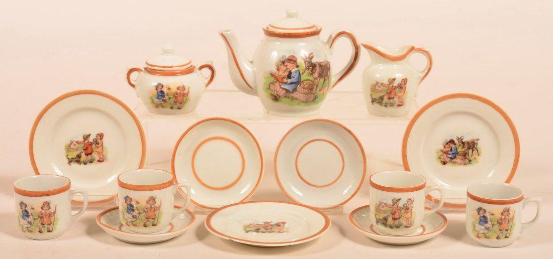 14 Piece German Porcelain Child's Tea Service.