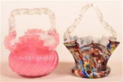 Two Victorian Overlay Glass Brides Baskets